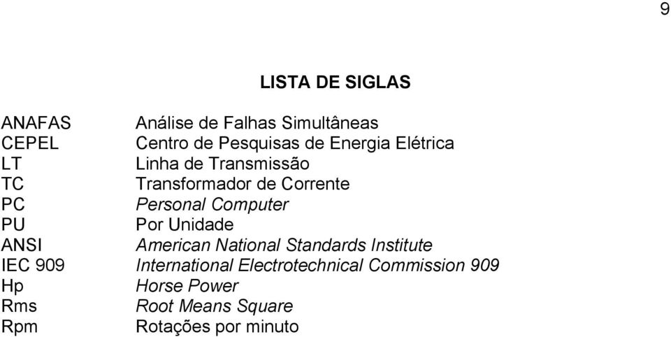 Computer PU Por Unidade ANSI American National Standards Institute IEC 909