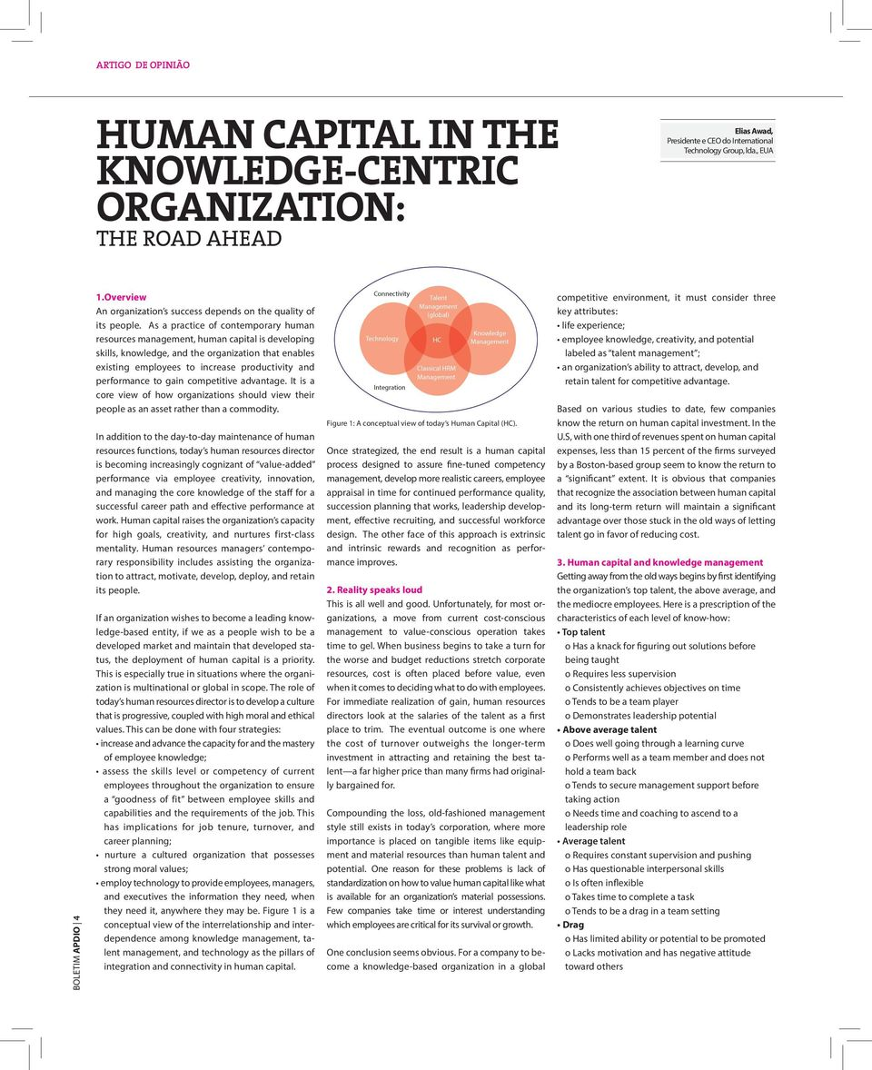 As a practice of contemporary human resources management, human capital is developing skills, knowledge, and the organization that enables existing employees to increase productivity and performance