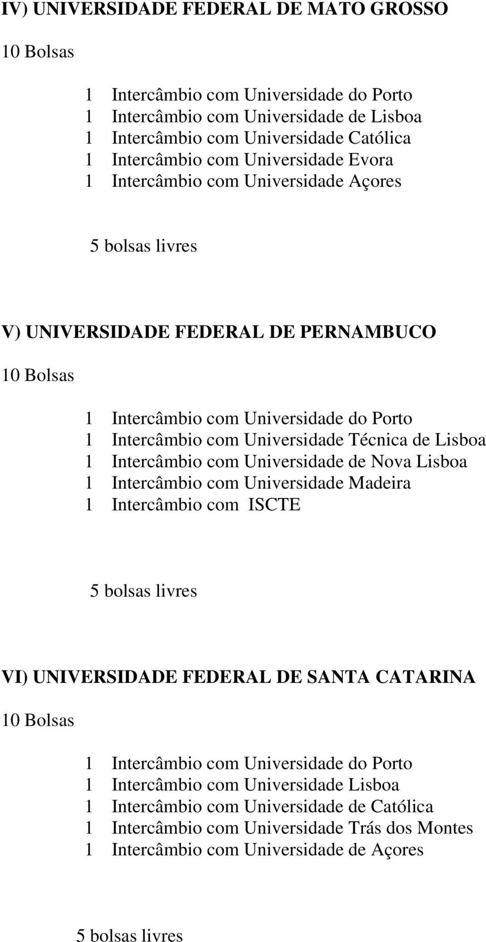 Lisboa 1 Intercâmbio com Universidade Madeira 1 Intercâmbio com ISCTE VI) UNIVERSIDADE FEDERAL DE SANTA CATARINA 1 Intercâmbio com