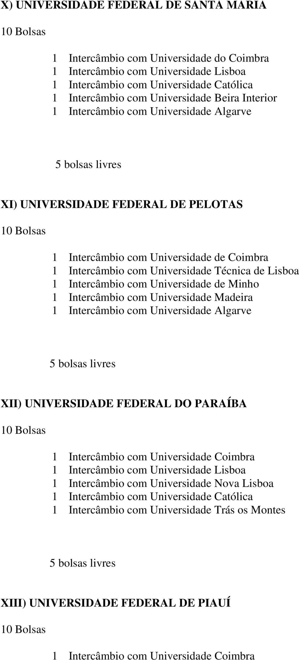 Universidade Madeira 1 Intercâmbio com Universidade Algarve XII) UNIVERSIDADE FEDERAL DO PARAÍBA 1 Intercâmbio com Universidade Coimbra 1 Intercâmbio com Universidade Lisboa 1 Intercâmbio