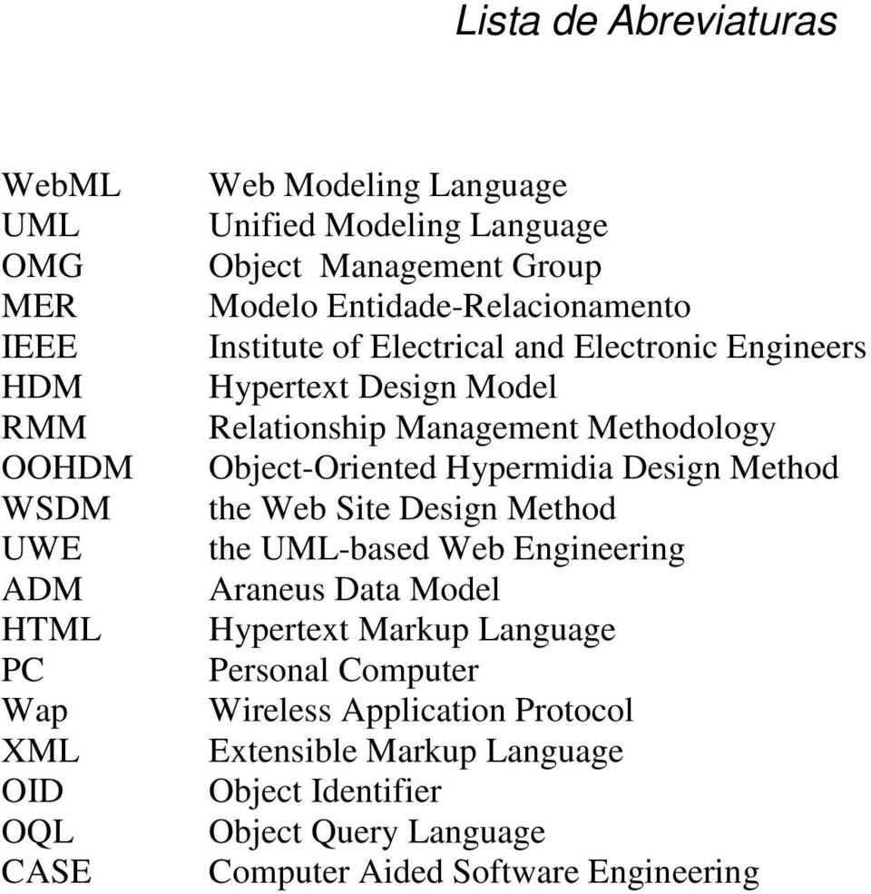 Methodology Object-Oriented Hypermidia Design Method the Web Site Design Method the UML-based Web Engineering Araneus Data Model Hypertext Markup