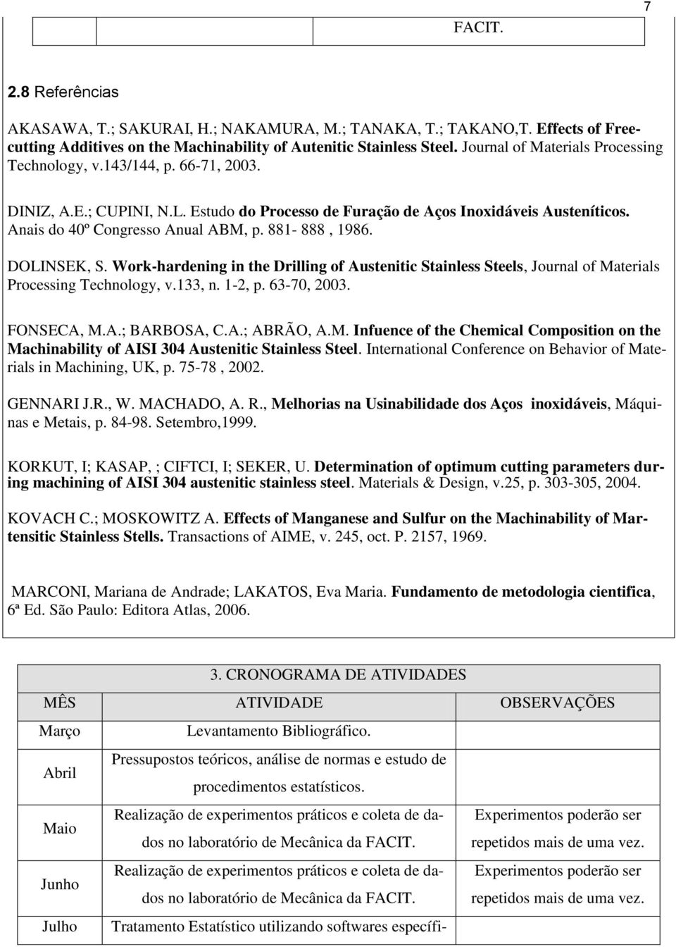 881-888, 1986. DOLINSEK, S. Work-hardening in the Drilling of Austenitic Stainless Steels, Journal of Materials Processing Technology, v.133, n. 1-2, p. 63-70, 2003. FONSECA, M.A.; BARBOSA, C.A.; ABRÃO, A.