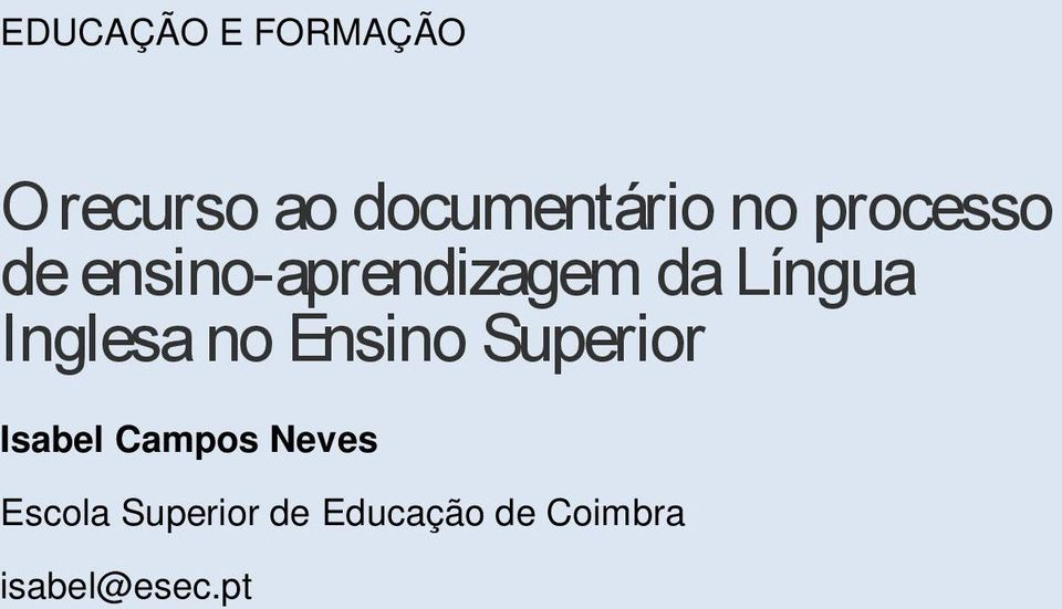 Inglesa no Ensino Superior Isabel Campos Neves