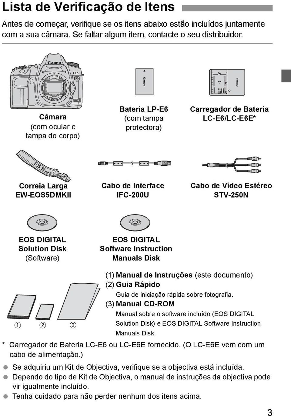 DIGITAL Solution Disk (Software) EOS DIGITAL Software Instruction Manuals Disk (1) Manual de Instruções (este documento) (2) Guia Rápido Guia de iniciação rápida sobre fotografia.