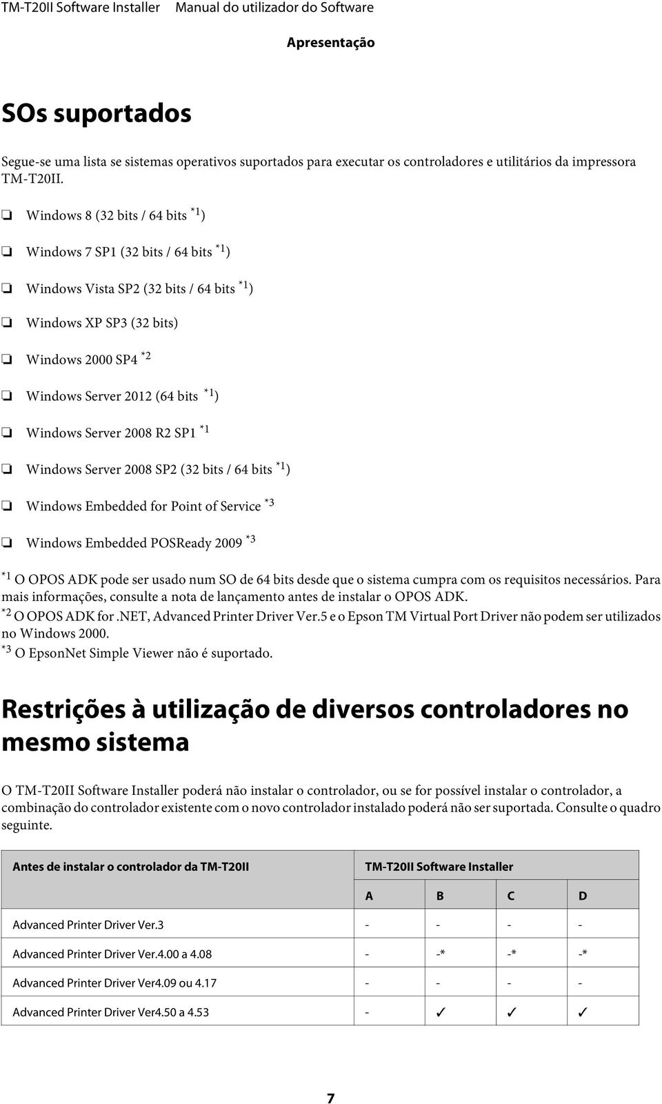 Windows Server 2008 R2 SP1 *1 Windows Server 2008 SP2 (32 bits / 64 bits *1 ) Windows Embedded for Point of Service *3 Windows Embedded POSReady 2009 *3 *1 O OPOS ADK pode ser usado num SO de 64 bits