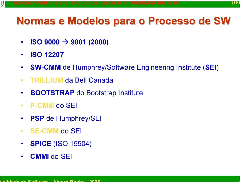 Engineering Institute (SEI) TRILLIUM da Bell Canada BOOTSTRAP do Bootstrap