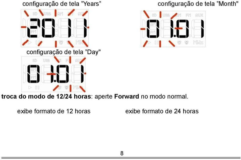 de 12/24 horas: aperte Forward no modo normal.