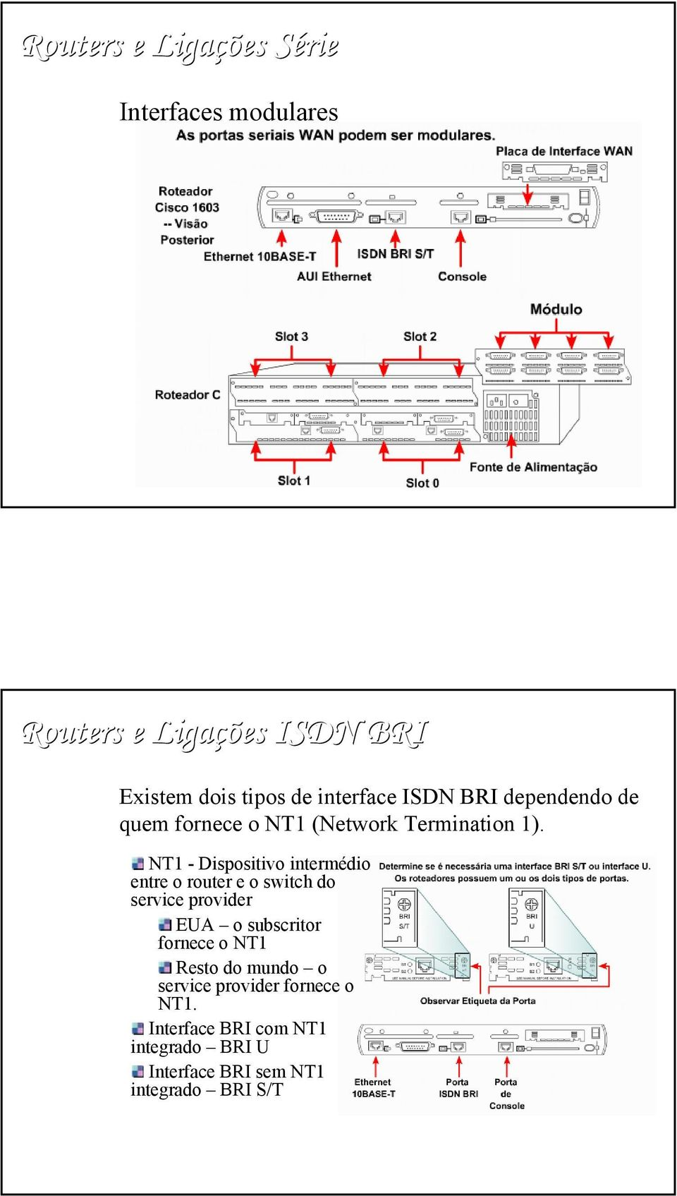 NT1 - Dispositivo intermédio entre o router e o switch do service provider EUA o subscritor fornece o