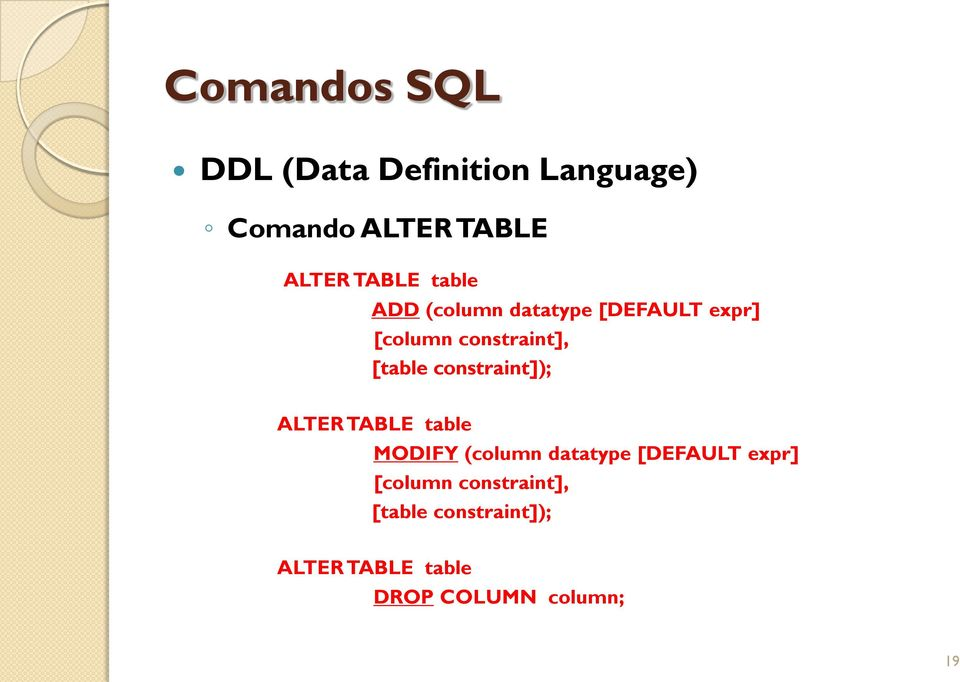 constraint]); ALTER TABLE table MODIFY (column datatype [DEFAULT expr]