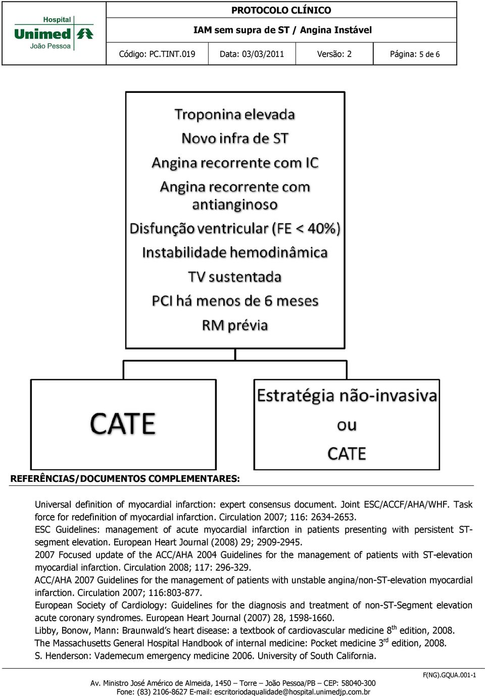 ESC Guidelines: management of acute myocardial infarction in patients presenting with persistent STsegment elevation. European Heart Journal (2008) 29; 2909-2945.