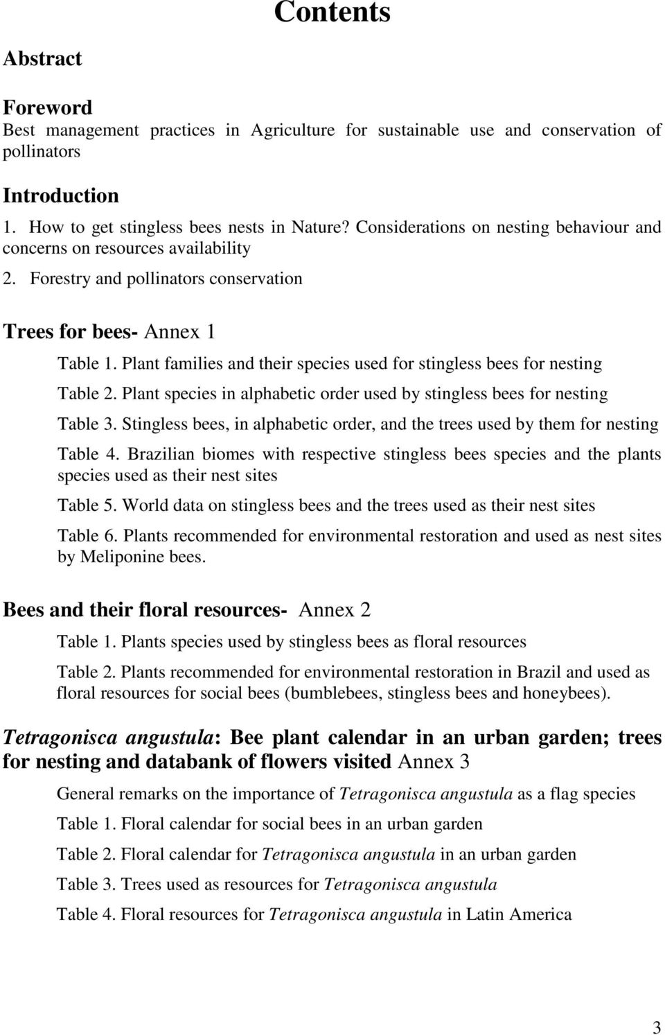 Plant families and their species used for stingless bees for nesting Table 2. Plant species in alphabetic order used by stingless bees for nesting Table 3.