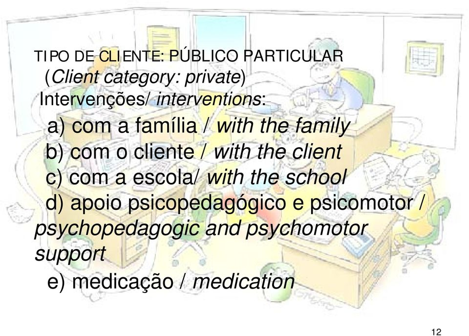 cliente / with the client c) com a escola/ with the school d) apoio