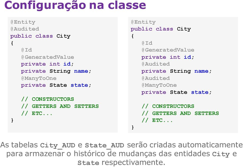 .. @Entity public class City { @Id @GeneratedValue private int id; @Audited private String name; @Audited @ManyToOne .