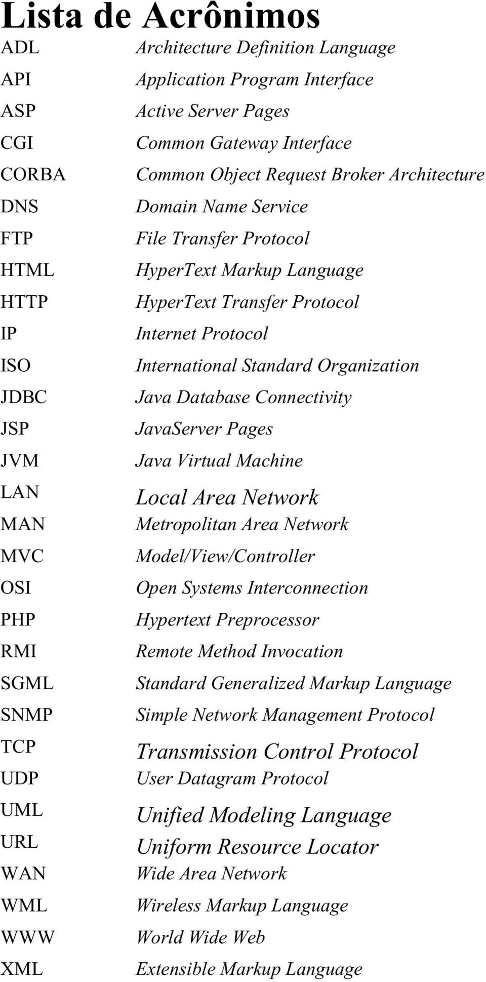 Internet Protocol International Standard Organization Java Database Connectivity JavaServer Pages Java Virtual Machine Local Area Network Metropolitan Area Network Model/View/Controller Open Systems