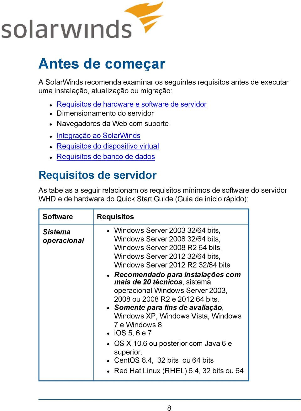 mínimos de software do servidor WHD e de hardware do Quick Start Guide (Guia de início rápido): Software Sistema operacional Requisitos Windows Server 2003 32/64 bits, Windows Server 2008 32/64 bits,