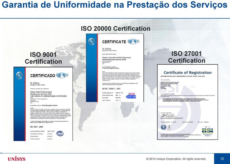 Certification ISO 27001 Certification 2014
