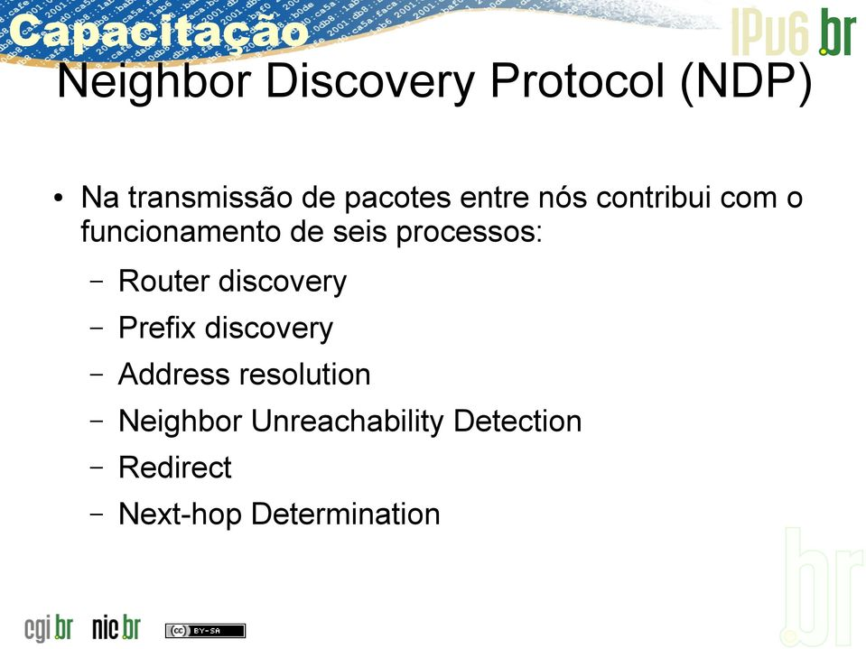 Router discovery Prefix discovery Address resolution