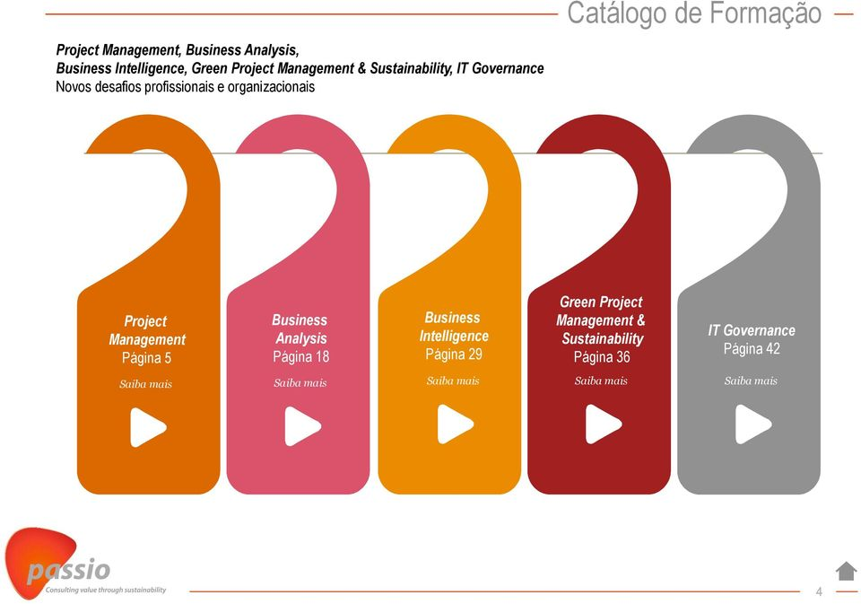 Project Management Página 5 Business Analysis Página 18 Business Intelligence Página 29 Green Project