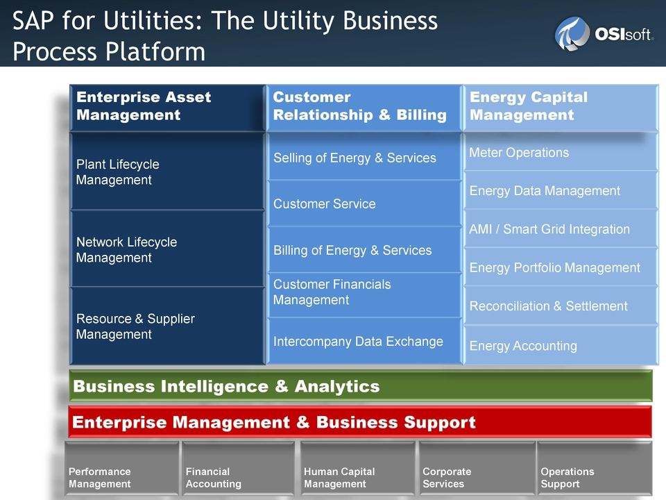 of Energy & Services Customer Financials Intercompany Data Exchange AMI / Smart Grid Integration Energy Portfolio Reconciliation & Settlement Energy