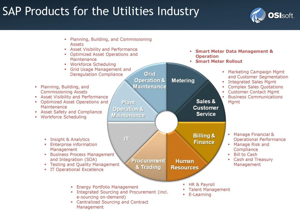 Meter Data & Operation Smart Meter Rollout Marketing Campaign Mgmt and Customer Segmentation Integrated Sales Mgmt Complex Sales Quotations Customer Contact Mgmt Business Communications Mgmt Insight