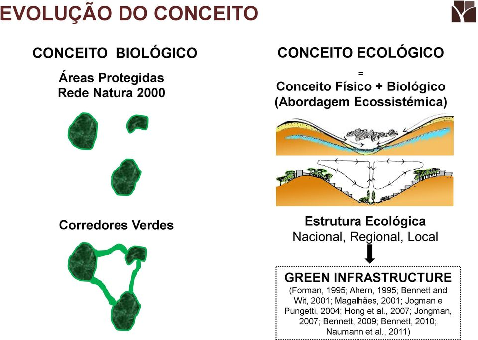 Regional, Local GREEN INFRASTRUCTURE (Forman, 1995; Ahern, 1995; Bennett and Wit, 2001; Magalhães,