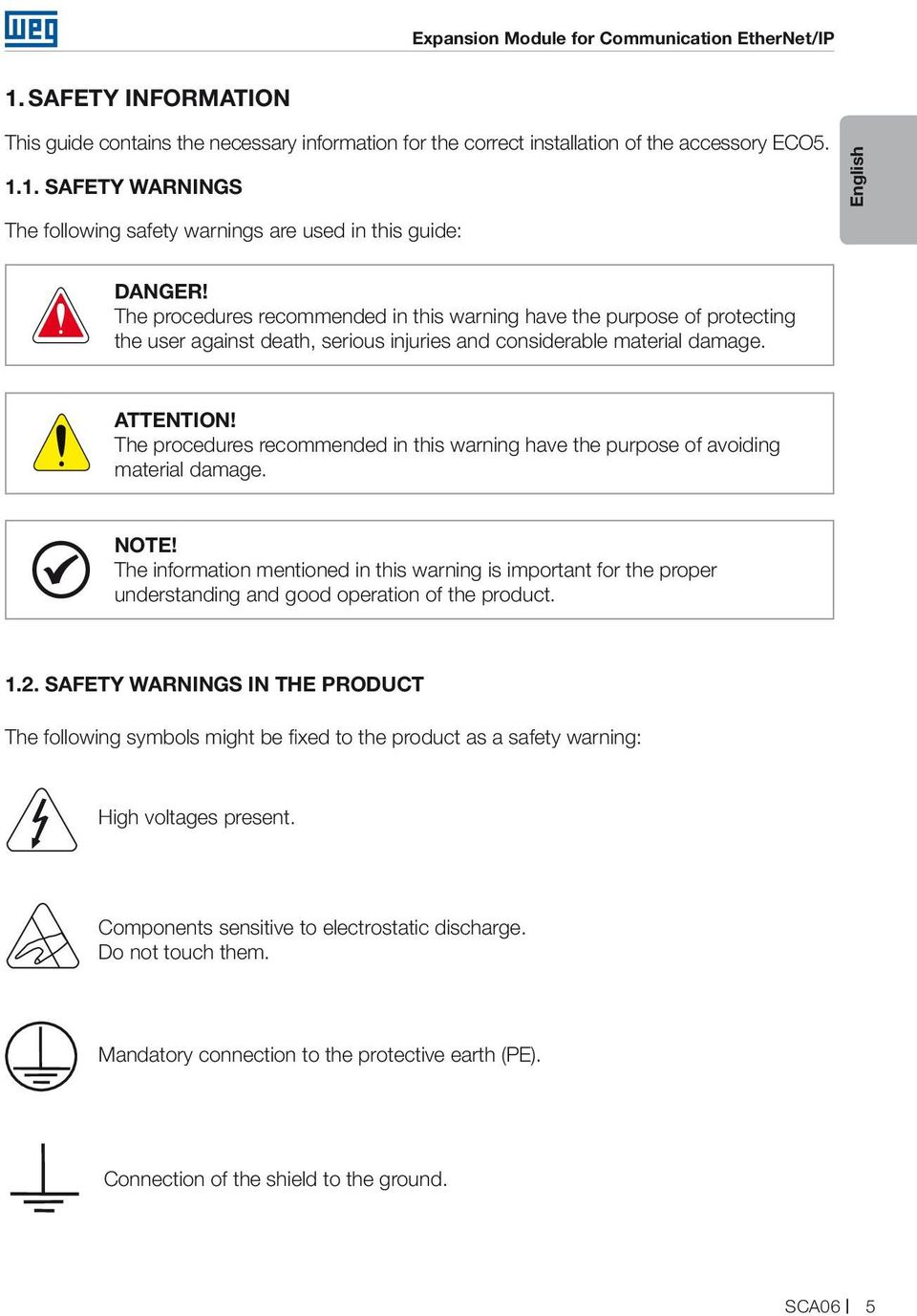 The procedures recommended in this warning have the purpose of avoiding material damage. NOTE!