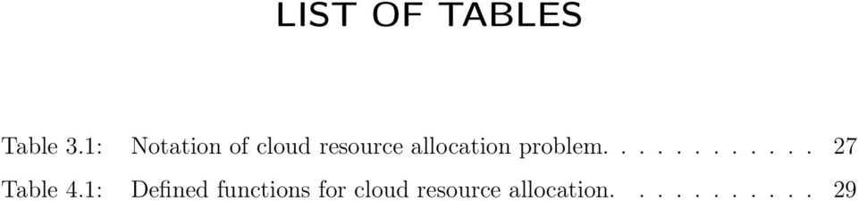 allocation problem............ 27 Table 4.