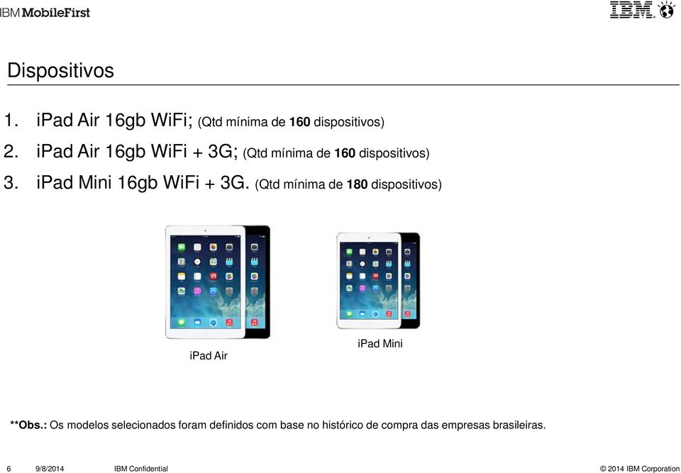 (Qtd mínima de 180 dispositivos) ipad Air ipad Mini **Obs.