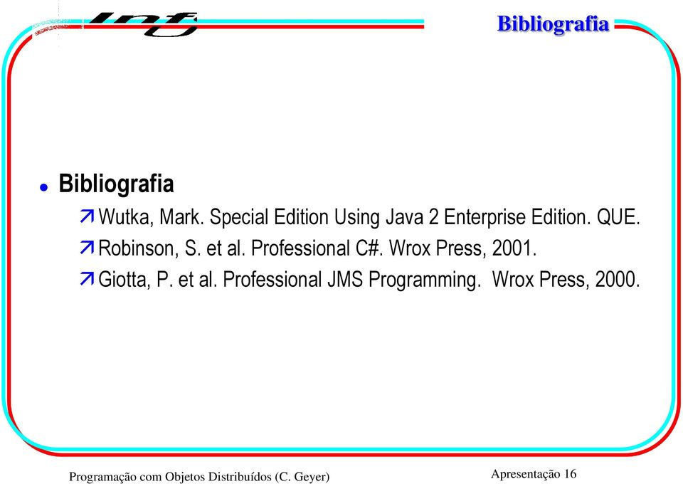 et al. Professional C#. Wrox Press, 2001. Giotta, P. et al.