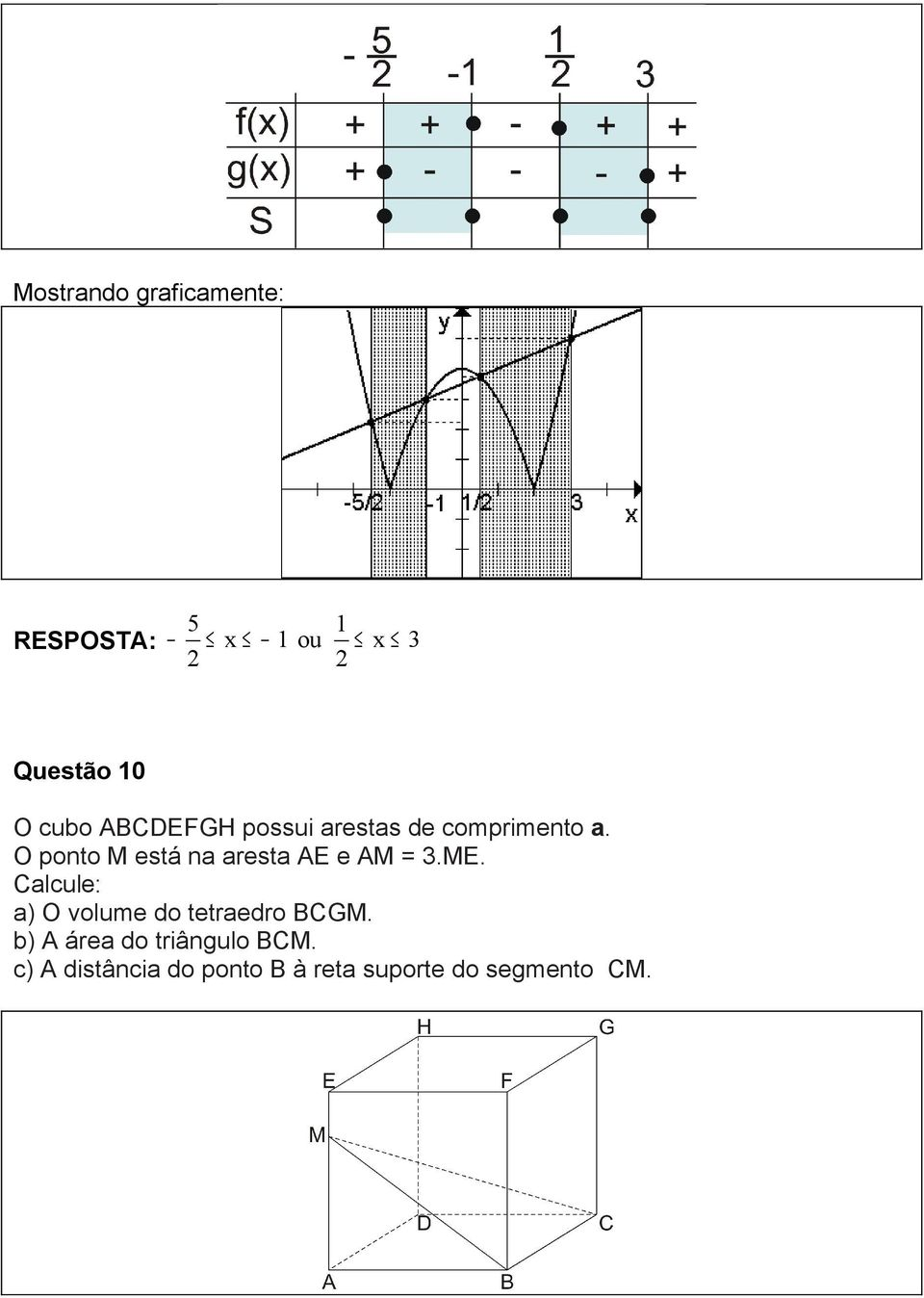 aresta AE e AM 3ME Calcule: a) O volume do tetraedro BCGM b) A
