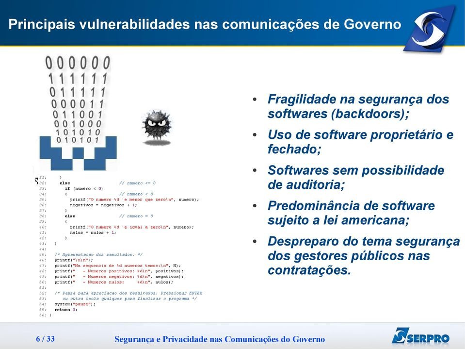 Softwares sem possibilidade de auditoria; Predominância de software sujeito a