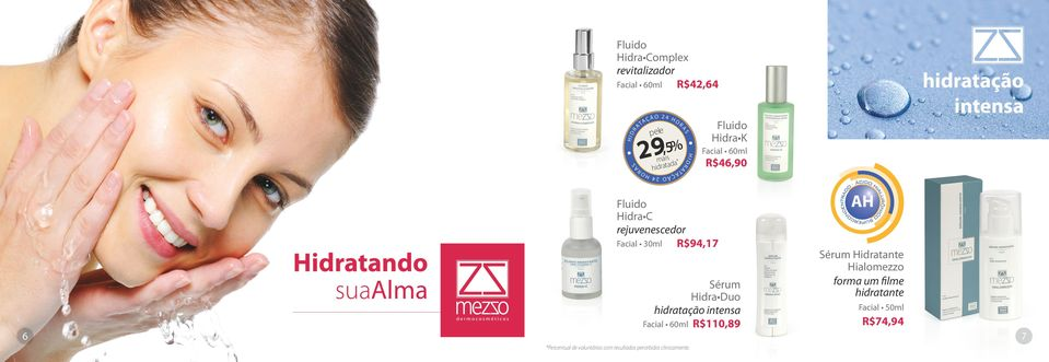 30ml R$94,17 Sérum Hidra Duo hidratação intensa Facial 60ml R$110,89 *Percentual de voluntárias com resultados