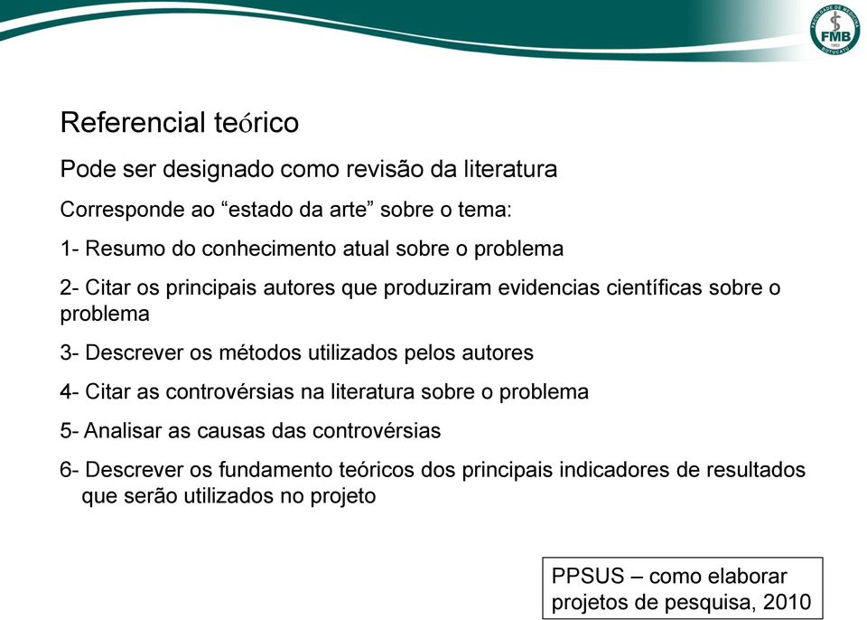 utilizados pelos autores 4- Citar as controvérsias na literatura sobre o problema 5- Analisar as causas das controvérsias 6- Descrever