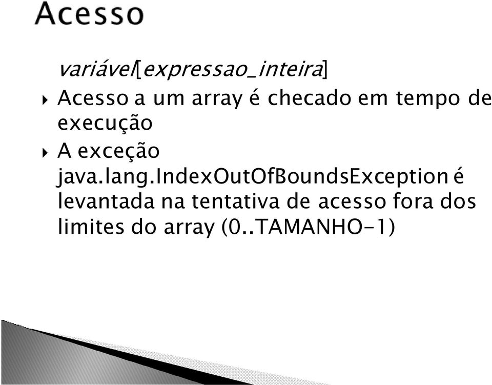 indexoutofboundsexception é levantada na
