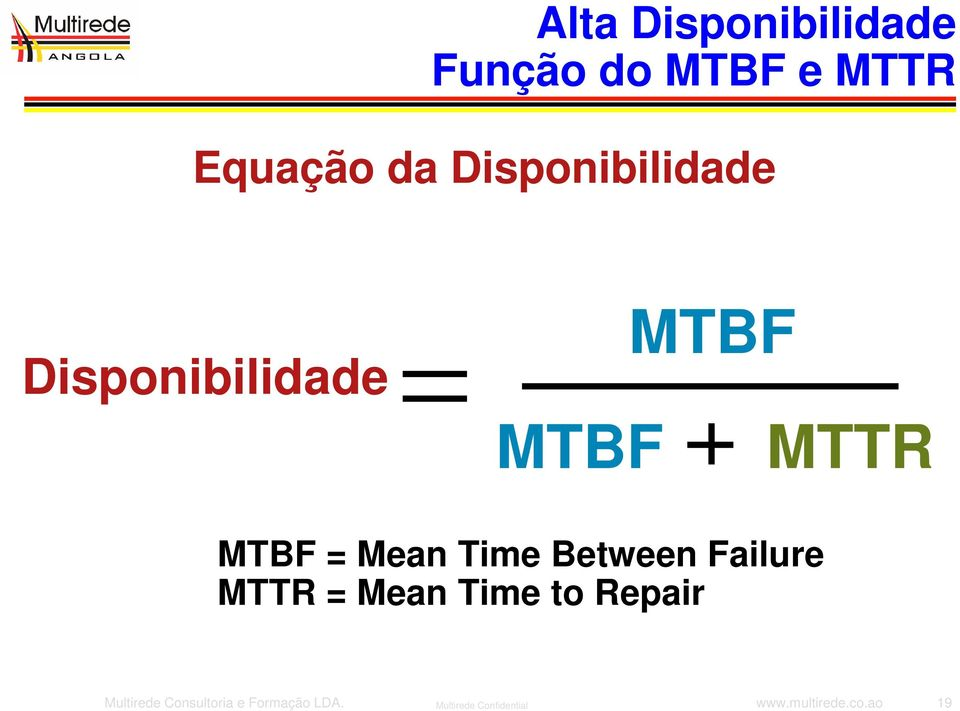 Time Between Failure MTTR = Mean Time to Repair Multirede