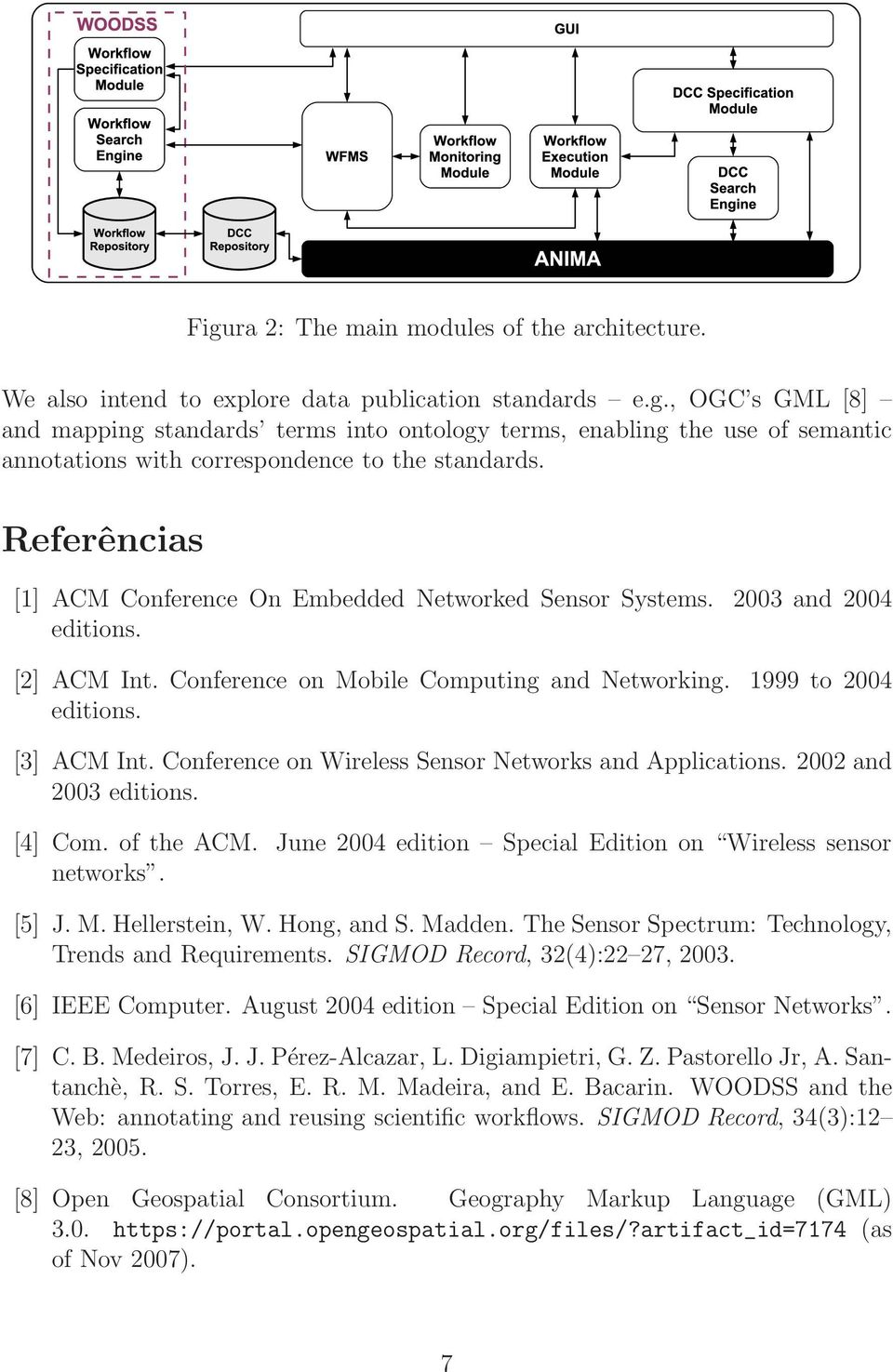 Conference on Wireless Sensor Networks and Applications. 2002 and 2003 editions. [4] Com. of the ACM. June 2004 edition Special Edition on Wireless sensor networks. [5] J. M. Hellerstein, W.