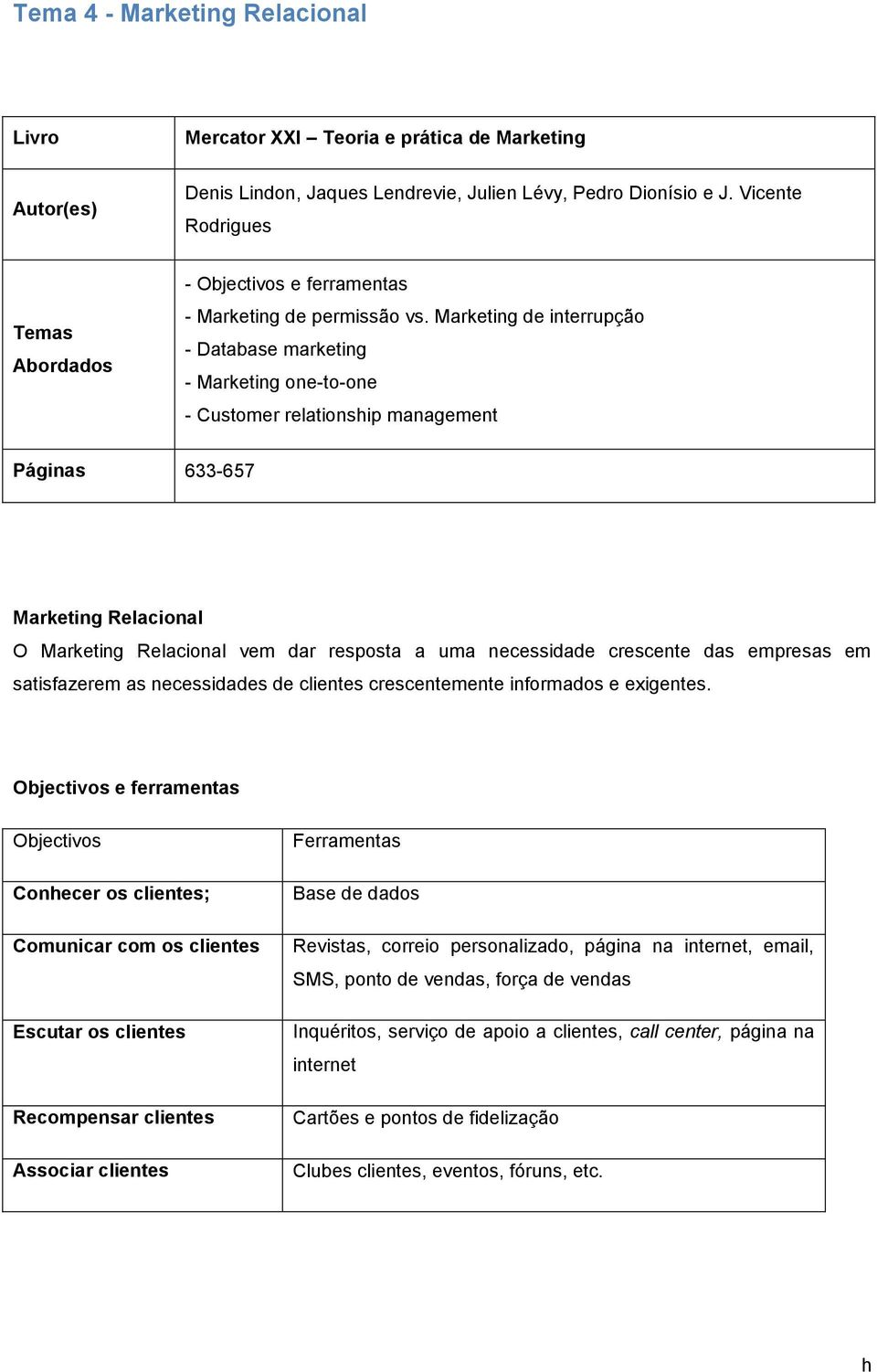 Marketing de interrupção Database marketing Marketing one-to-one - Customer relationship management Páginas 633-657 Marketing Relacional O Marketing Relacional vem dar resposta a uma necessidade