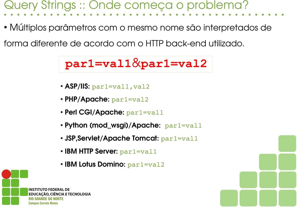 HTTP back end utilizado.