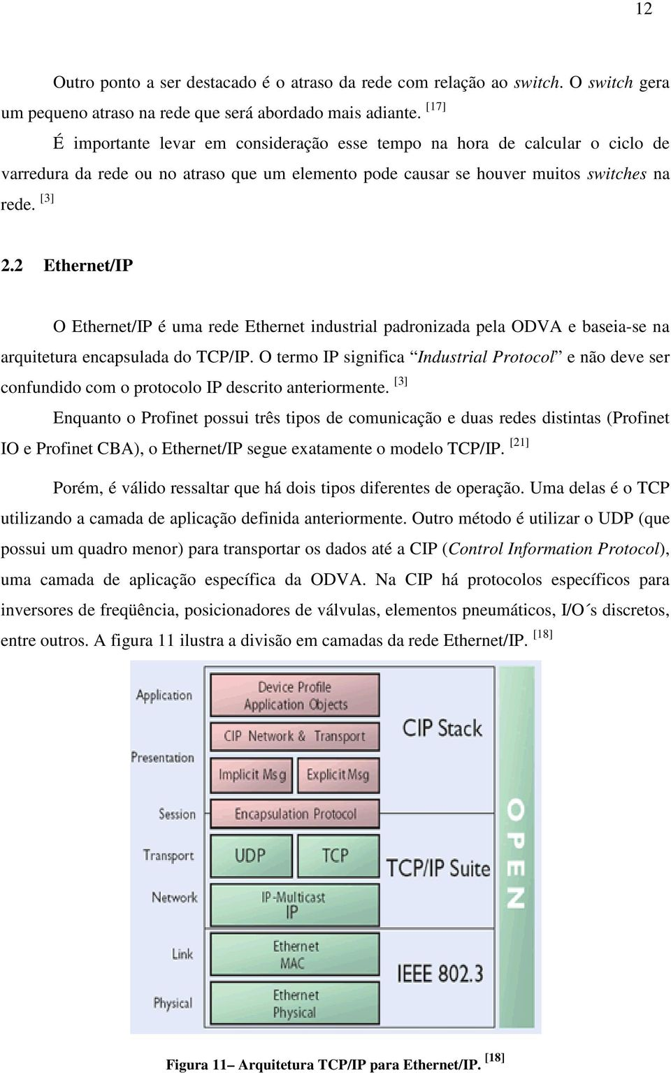 2 Ethernet/IP O Ethernet/IP é uma rede Ethernet industrial padronizada pela ODVA e baseia-se na arquitetura encapsulada do TCP/IP.