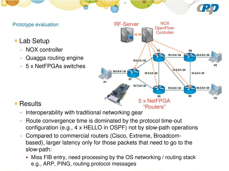 g., 4 x HELLO in OSPF) not by slow-path operations - Compared to commercial routers (Cisco, Extreme, Broadcombased), larger latency only for those