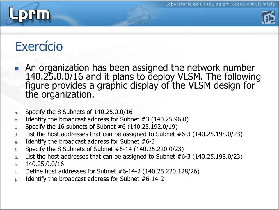 0) c. Specify the 16 subnets of Subnet #6 (140.25.192.0/19) d. List the host addresses that can be assigned to Subnet #6-3 (140.25.198.0/23) e.