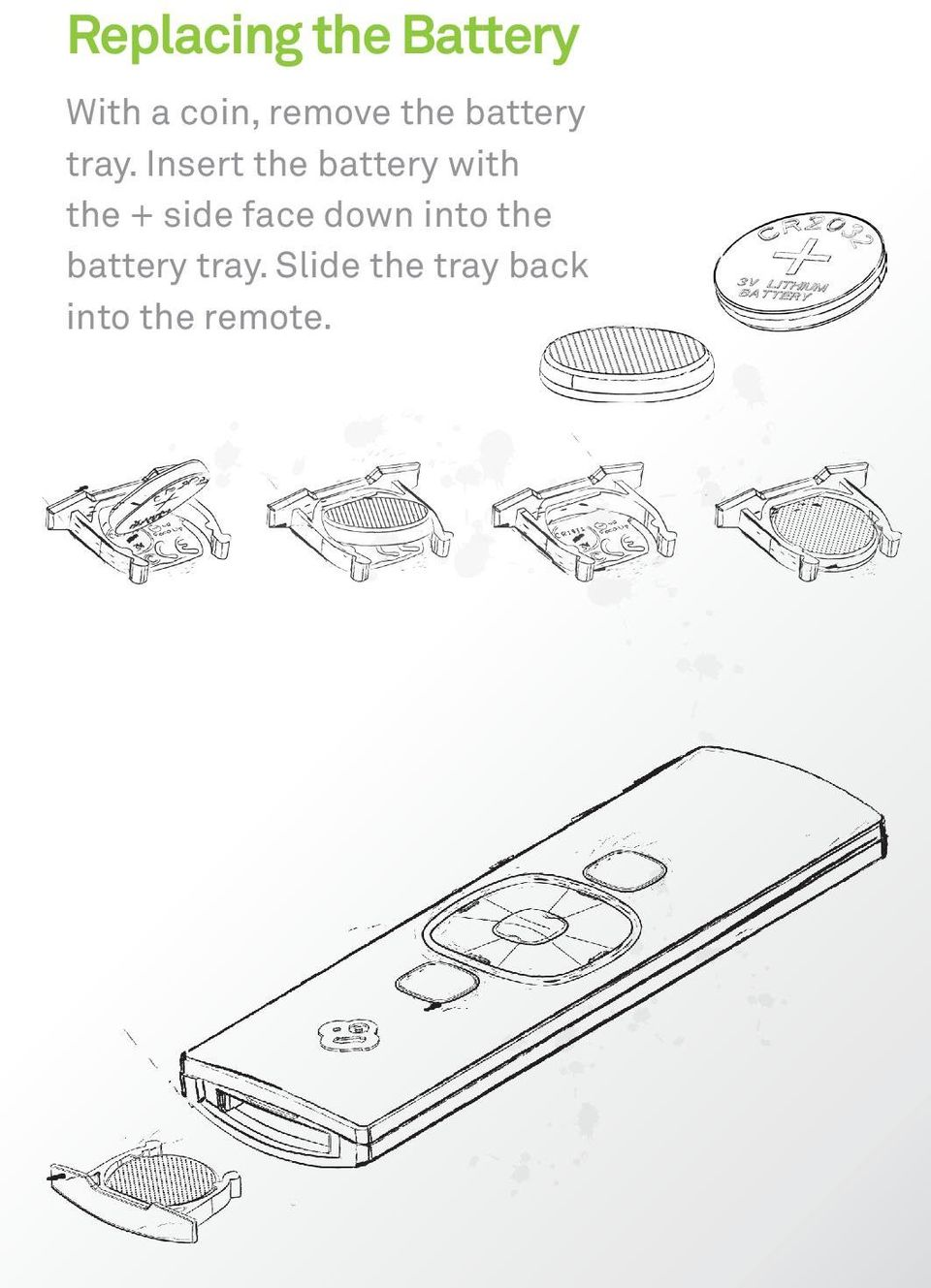 Insert the battery with the + side face