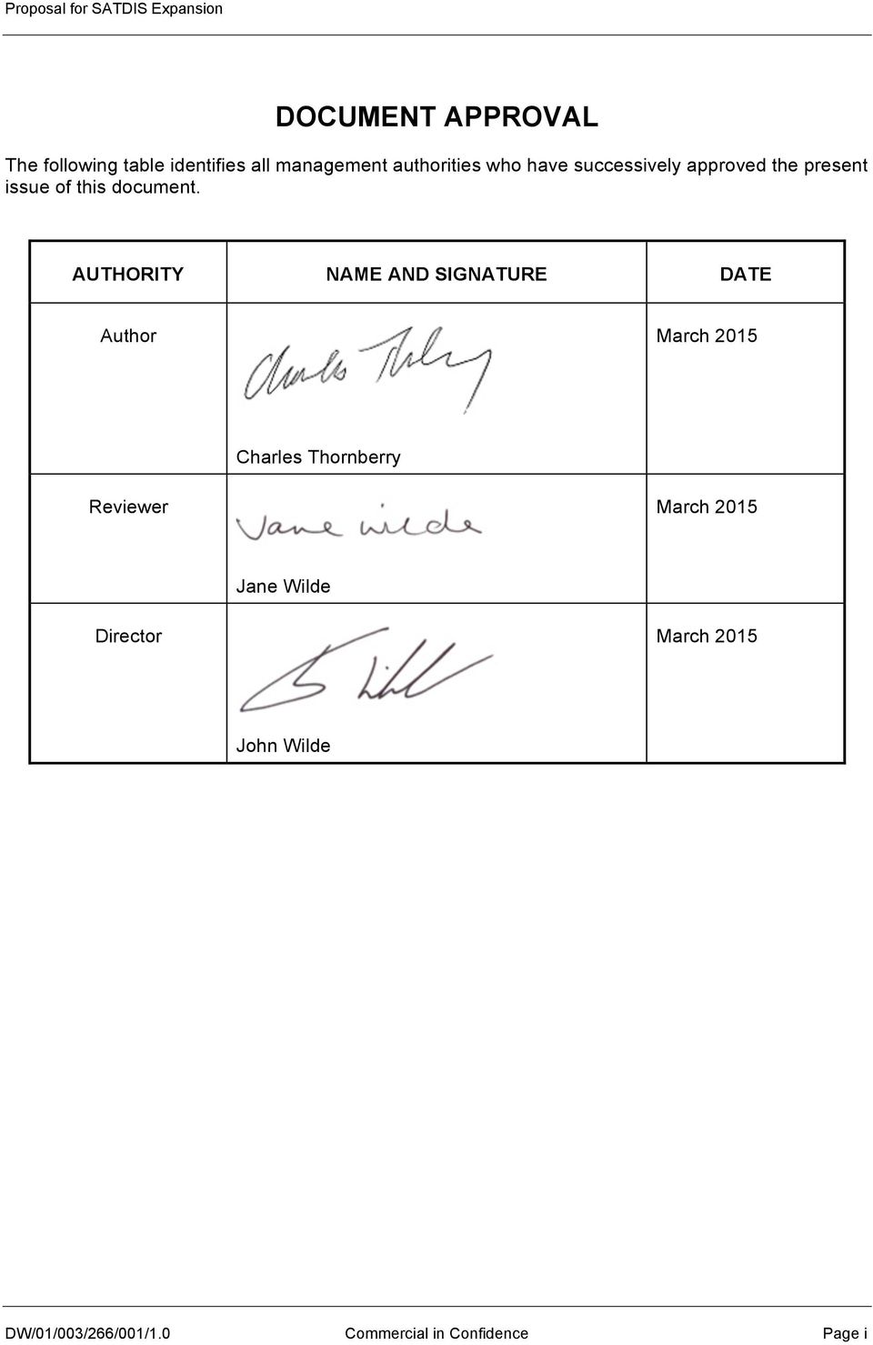AUTHORITY NAME AND SIGNATURE DATE Author March 2015 Charles Thornberry Reviewer March