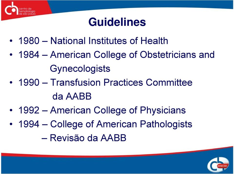Practices Committee da AABB 1992 American College of