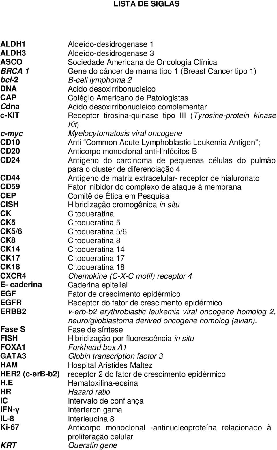 Myelocytomatosis viral oncogene CD10 Anti Common Acute Lymphoblastic Leukemia Antigen ; CD20 Anticorpo monoclonal anti-linfócitos B CD24 Antígeno do carcinoma de pequenas células do pulmão para o