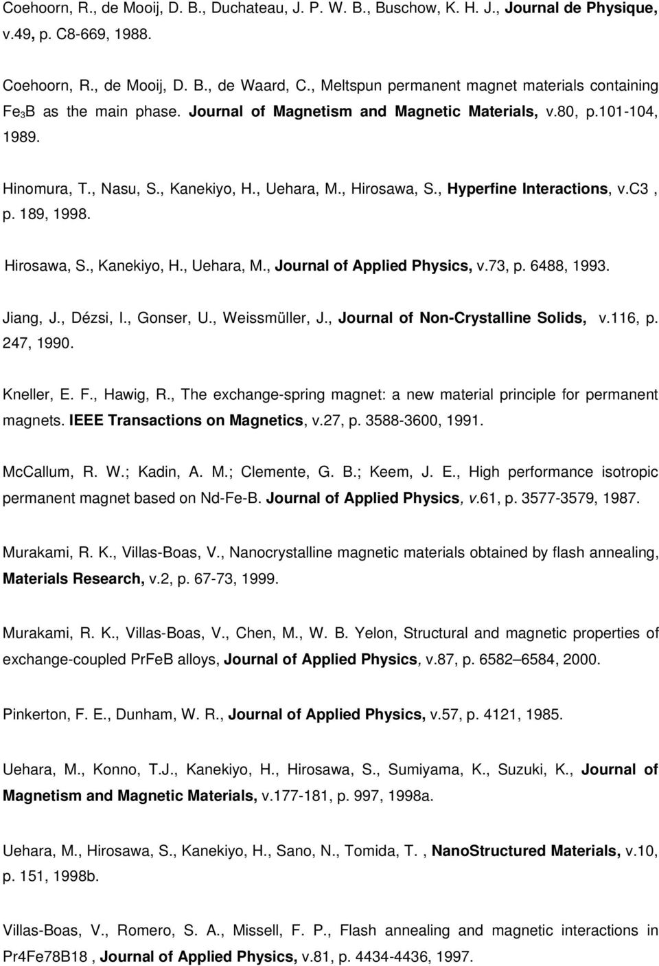 , Hirosawa, S., Hyperfine Interactions, v.c3, p. 189, 1998. Hirosawa, S., Kanekiyo, H., Uehara, M., Journal of Applied Physics, v.73, p. 6488, 1993. Jiang, J., Dézsi, I., Gonser, U., Weissmüller, J.