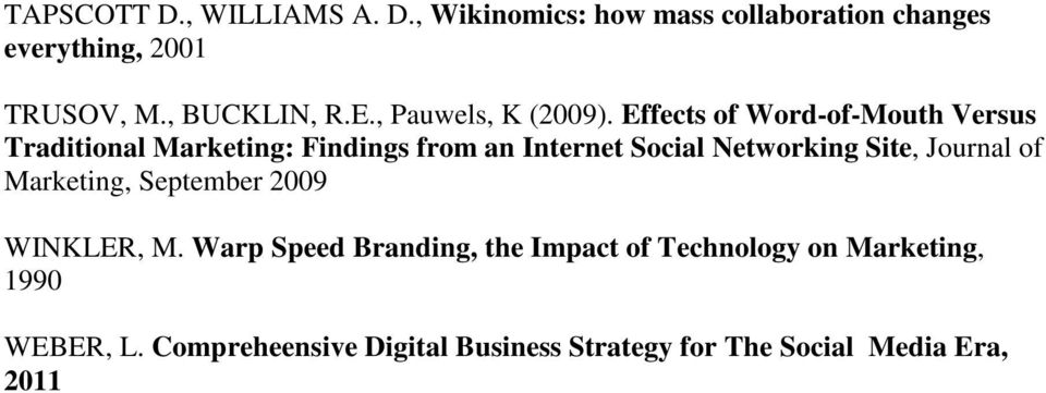 Effects of Word-of-Mouth Versus Traditional Marketing: Findings from an Internet Social Networking Site, Journal of