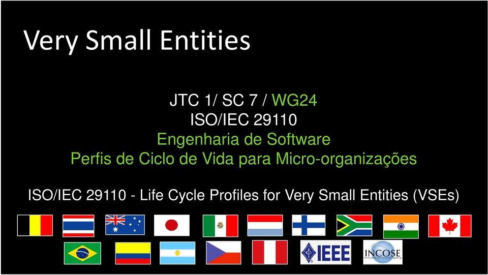 Micro-organizações ISO/IEC 29110 - Life Cycle Profiles for