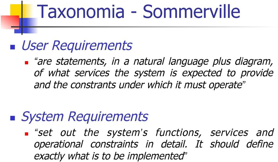 which it must operate System Requirements set out the system s functions, services