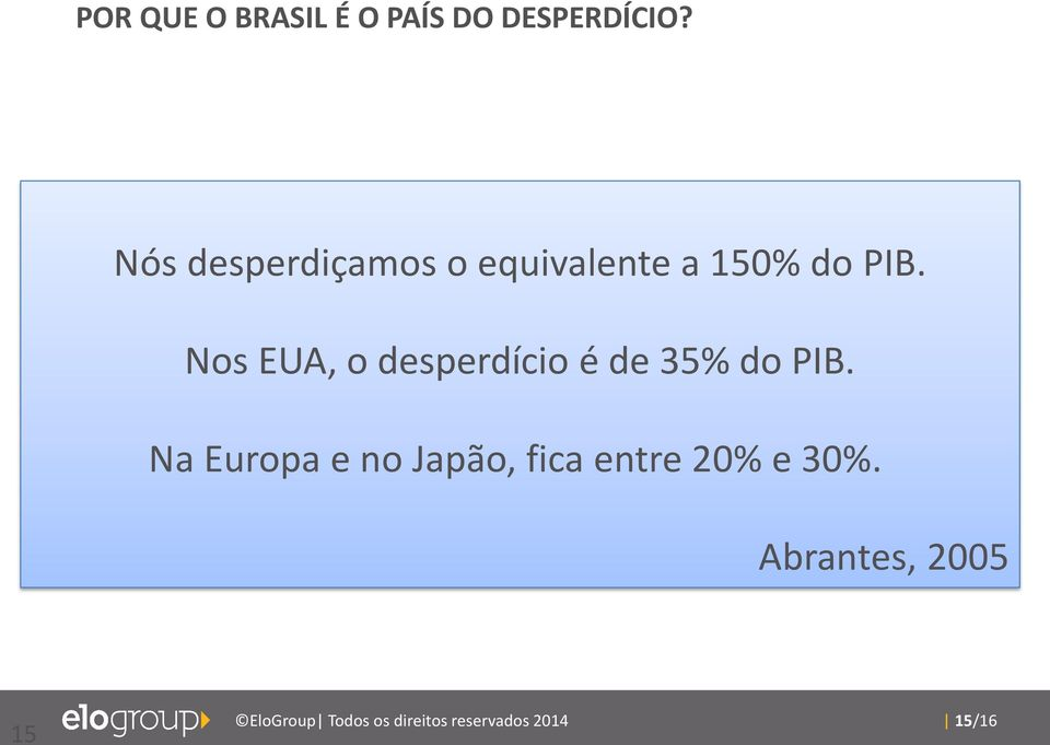 Nós desperdiçamos o equivalente a 150% do PIB.